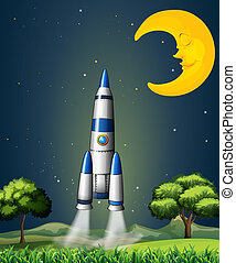 A rocket going to the sky with a sleeping moon -...