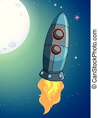 A rocket on the space