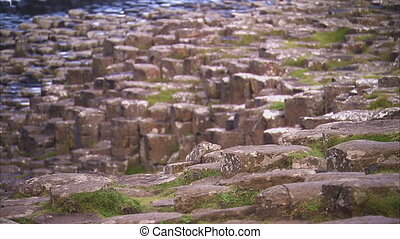 A rocky terrain in Ireland - A focus to blur steady shot of...