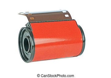 A red roll of 35mm analogue camera film on a white background with copy space for your text