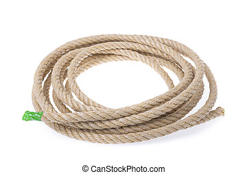 A roll of sturdy rope material. Twisted into a circle. On a...
