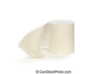 A roll of toilet paper. Close up. Isolated on white background