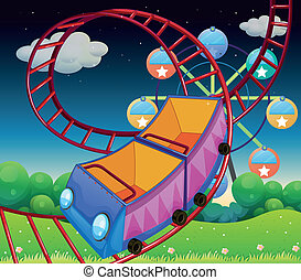 A roller coaster ride at the carnival - Illustration of a...