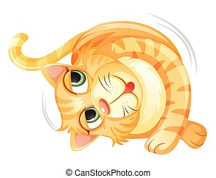 A rolling cat on white background