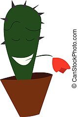 A romantic cactus plant emoji with closed eyes and mouth wide opened holds a red flower in its mouth vector color drawing or illustration