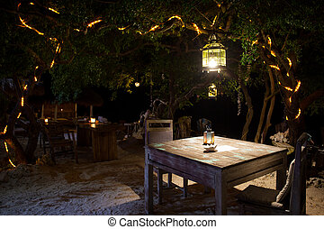 A romantic private beach dinner with candles