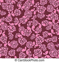 romantic seamless vector pattern with rose garden and butterflies