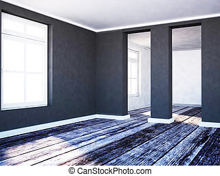 a room in contrast colors
