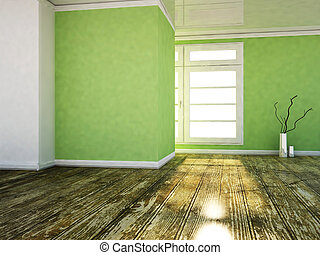 a room in the green colors