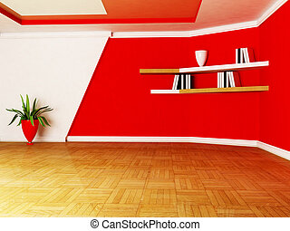 a room in white and red colors