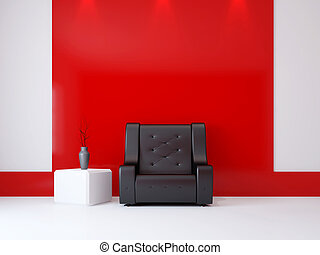 A room interior with a armchair near the wall