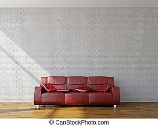 A room interior with sofa near the wall