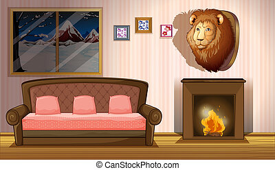 A room with a lion wall decor