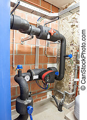 a room with industrial heating