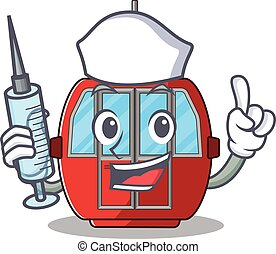 A ropeway hospitable Nurse character with a syringe