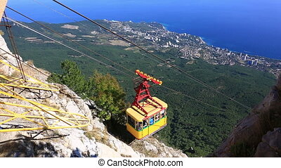 A ropeway on Ah-Petri. Ah-Petri - the mountain in the Crimean Mountains as a part of the massif Ah-Petri a plateau.