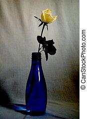 A rose in a blue bottle