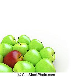 a, roter apfel, unter, viele, grüne äpfel