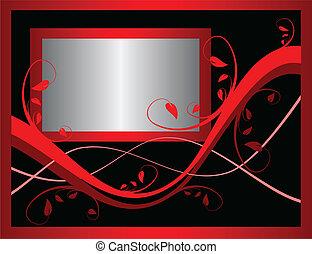 a, rotes , förmlichkeit, blumen-, hintergrund, vektor, incorporating, a, silber, rahmen, auf, a, schwarzer hintergrund, ., zimmer, für, text