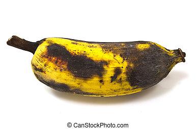 a rotting banana isolated on white background