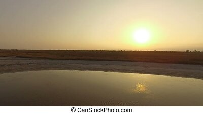 a Rough Sunset View on The Black Sea Shore With a Lot of Brown Wetland in Summer
