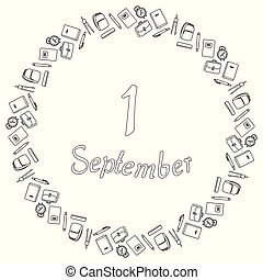 A round black and white banner from the inscription of September 1, surrounded by pencils, pens, compasses, alarm clocks, notebooks, textbooks, backpacks and backpacks. Coloring page. Vector.