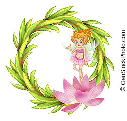 A round border design with a fairy in a pink dress -...