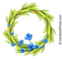 A round border with blue flowers