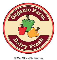 A round dairy fresh and organic farm logo with bell peppers