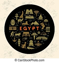 A round design concept template filled with icons on sights and symbols of Egypt