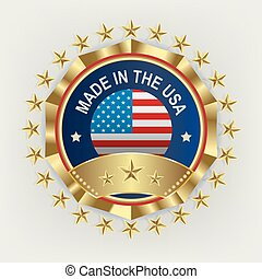 a round emblem of a golden color with a reflection of the American flag,