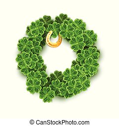 A round filled with Realistic Clover leaves, Gold Horseshoe for St. Patricks Day holiday. Shamrock grass symbol. Lucky flower for Irish festival. Scottish decor isolated on white.