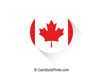 Round flag with shadow of Canada