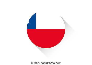 Round flag with shadow of Chile