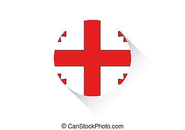 Round flag with shadow of Georgia