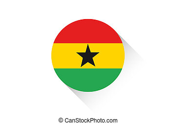 Round flag with shadow of Ghana