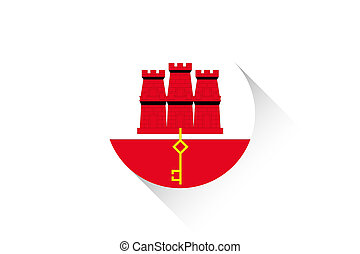Round flag with shadow of Gibraltar