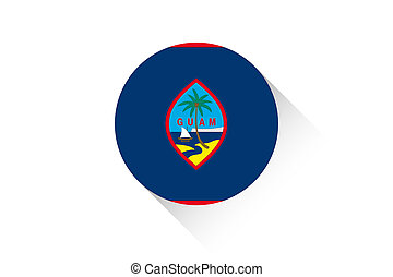 Round flag with shadow of Guam