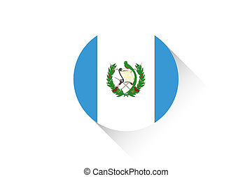 Round flag with shadow of Guatemala
