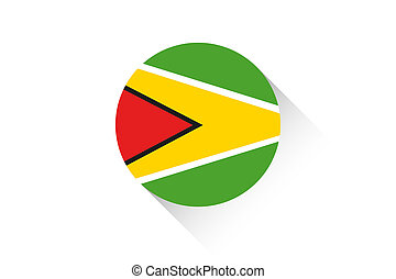 Round flag with shadow of Guyana