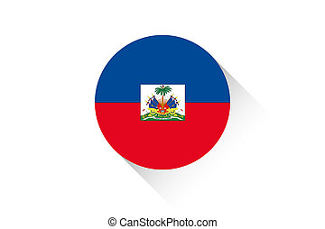 Round flag with shadow of Haiti