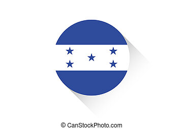 Round flag with shadow of Honduras