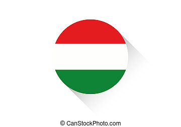 Round flag with shadow of Hungary