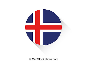 Round flag with shadow of Iceland