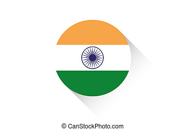Round flag with shadow of India