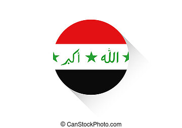Round flag with shadow of Iraq