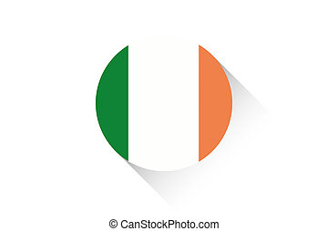 Round flag with shadow of Ireland