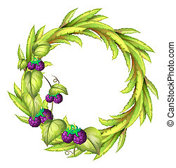 A round frame with violet berries