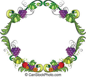 A round fruity border - Illustration of a round fruity...