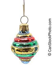 A round glass Christmas tree ornament.